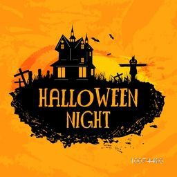Creative poster, banner or flyer design with haunted house for Halloween Night Party celebration.