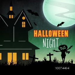 Creative haunted house on horrible night background for Happy Halloween Party celebration.