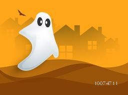 Horrible white ghost on haunted house background for Happy Halloween Party celebration.