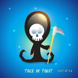 Scary ghost with an axe on shiny blue background for Happy Halloween, Trick or Treat Party celebration.