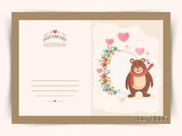Elegant greeting card with cute bear on beautiful flowers decorated background for Happy Valentine's Day celebration.