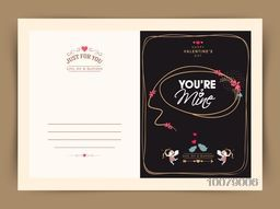 Elegant greeting card design with stylish text You'Re Mine for Happy Valentine's Day celebration.