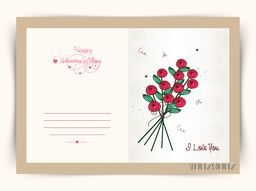 Elegant greeting card design decorated with beautiful flowers for Happy Valentine's Day celebration.