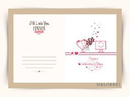 Elegant greeting card design with illustration of cute heart holding flowers for Happy Valentine's Day celebration.