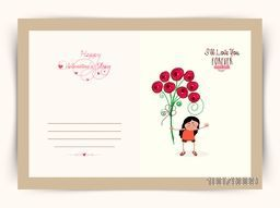 Elegant greeting card design with illustration of a girl holding bunch of beautiful flowers for Happy Valentine's Day celebration.