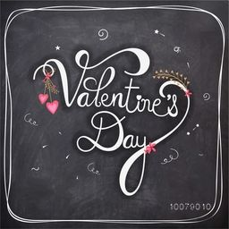 Elegant greeting card design with stylish text Valentine's Day on chalkboard background.