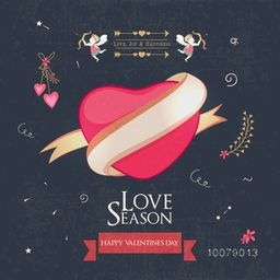 Love Season, Vintage greeting card design with pink heart surrounded by ribbon on grungy background for Happy Valentine's Day celebration.