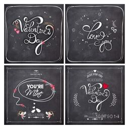 Set of elegant greeting cards with different typographic collection in chalkboard style for Happy Valentine's Day celebration.