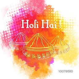 Creative illustration of dry colours in bowls with Hindi text Holi Hai (Its Holi) on colourful splash background for Indian Festival celebration.