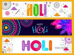 Creative colourful website header or banner set for Indian Festival of Colours, Happy Holi celebration.