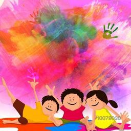 Cute little kids enjoying and playing with colours on colourful background for Indian Festival, Happy Holi celebration.