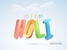 Colorful glossy 3D text Holi on cloudy sky background for Indian festival of colors celebration.