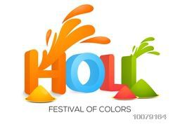 3D colourful text Holi with colour plates for Indian Festival of Colours celebration.