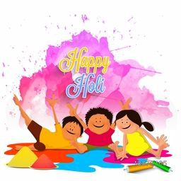 Cute little kids with pichkari, playing and enjoying on occasion of Happy Holi.