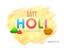 Indian Festival of Colours, Happy Holi celebration with pots full of shiny Colours.
