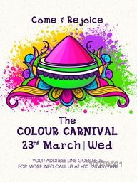 The Colour Carnival Pamphlet, Banner or Flyer design with dry colour on floral decorated background for Indian Festival, Happy Holi celebration.