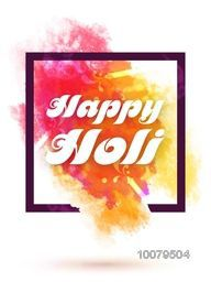 Colourful splash decorated Pamphlet, Banner or Flyer design for Indian Festival of Colours, Happy Holi celebration.