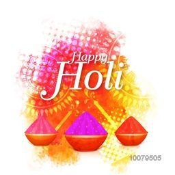 Shiny dry colours in bowls on floral design decorated colourful background for Indian Festival of Colours, Happy Holi celebration.