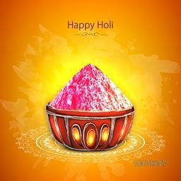 Colour powder in beautiful bowl on floral decorated background for Indian Festival, Happy Holi celebration.