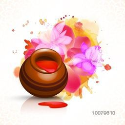 Traditional glossy mud pot full of liquid colour on beautiful flowers decorated background for Indian Festival, Happy Holi celebration.