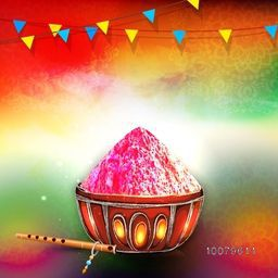 Colour powder in beautiful bowl with flute on floral decorated colourful background for Indian Festival, Happy Holi celebration.