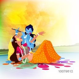 Hindu mythological Goddess Radha with Lord Krishna playing flute on nature background for Indian Festival of Colours, Happy Holi concept.