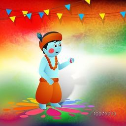 Hindu mythological Lord Krishna on colourful floral design decorated background for Indian Festival of Colours, Happy Holi celebration.