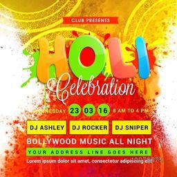 Indian Colours Festival, Holi celebration Poster, Banner or Flyer design decorated with colour splash and party details.