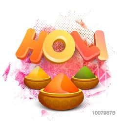 Glossy 3D text Holi with shiny dry colours on floral design decorated abstract background for Indian Festival, Happy Holi celebration.