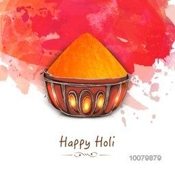 Shiny dry colour in bowl on splash background for Indian Festival, Happy Holi celebration.