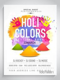 Creative colourful Pamphlet, Banner or Flyer design for Indian Festival of Colours, Happy Holi celebration.