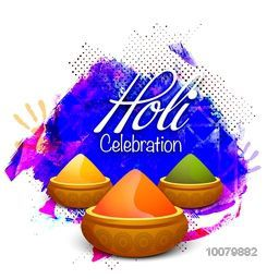 Shiny dry colours in bowls on abstract background for Indian Festival, Happy Holi celebration.