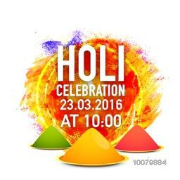Colourful abstract design and dry colours decorated Poster, Banner or Flyer design with party details for Indian Festival, Happy Holi celebration.