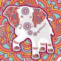 Creative decorative elephant on beautiful floral background for Indian Festival of Colours, Happy Holi celebration.