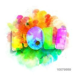 Creative paper text Holi with colourful splash for Indian Festival of Colours, Happy Holi celebration.
