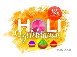 Beautiful Poster, Banner or Flyer design with shiny dry colours for Indian Festival, Holi celebration.