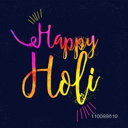 Indian Festival of Colors celebration poster, banner design with creative colourful text Happy Holi.
