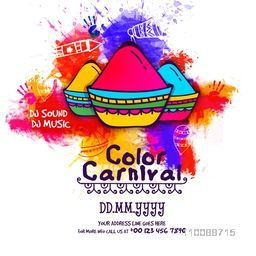 Color Carnival Poster, Banner or Flyer design with hand drawn illustration of Dry Colors (Gulal) for Holi Party celebration.