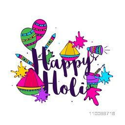 Colorful hand drawn doodle elements as dry colors, water guns, balloons etc for Indian Festival, Happy Holi celebration.