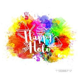 Stylish text Happy Holi with hand drawn doodle elements on abstract colorful splash background.
