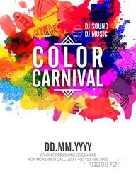 Creative colourful Template, Banner or Flyer design for Indian Festival, Happy Holi Party celebration.