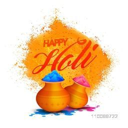 Glossy golden pots full of colors on abstract background for Indian Festival, Happy Holi celebration.