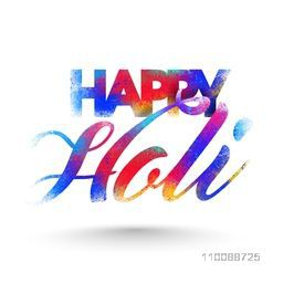 Creative colorful text design Happy Holi with color explosion effect, Can be used as poster, banner, flyer design for Indian Festival celebration.