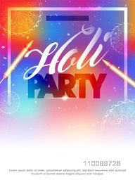 Creative colorful Template, Banner or Flyer with glossy water guns and floral design decoration for Holi Party celebration.