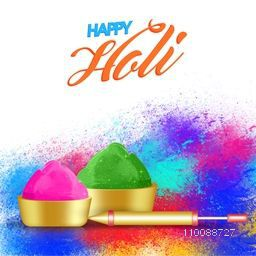 Abstract colorful background with dry colors in golden bowls and water gun for Indian Festival, Happy Holi celebration.