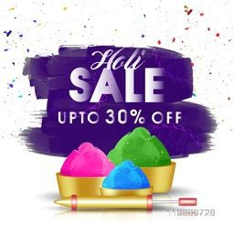 Holi Sale with Upto 30% Off. Creative Poster, Banner, Flyer design with illustration of dry colors and golden water gun.
