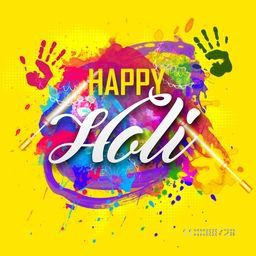 Stylish Text Happy Holi on abstract colorful background for Indian Festival of Colors celebration.