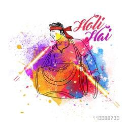 Abstract colorful illustration of a young man playing drum on occasion of Indian Festival, Happy Holi celebration.