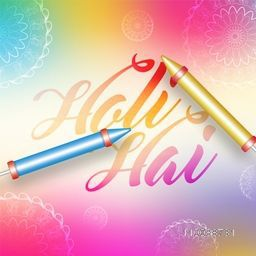 Glossy water guns with Stylish Text Holi Hai (Its Holi) on floral design decorated colorful background.