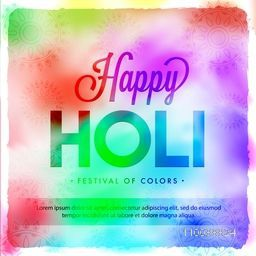 Colorful Poster, Banner or flyer with floral design for Indian Festival of Colors, Happy Holi celebration.